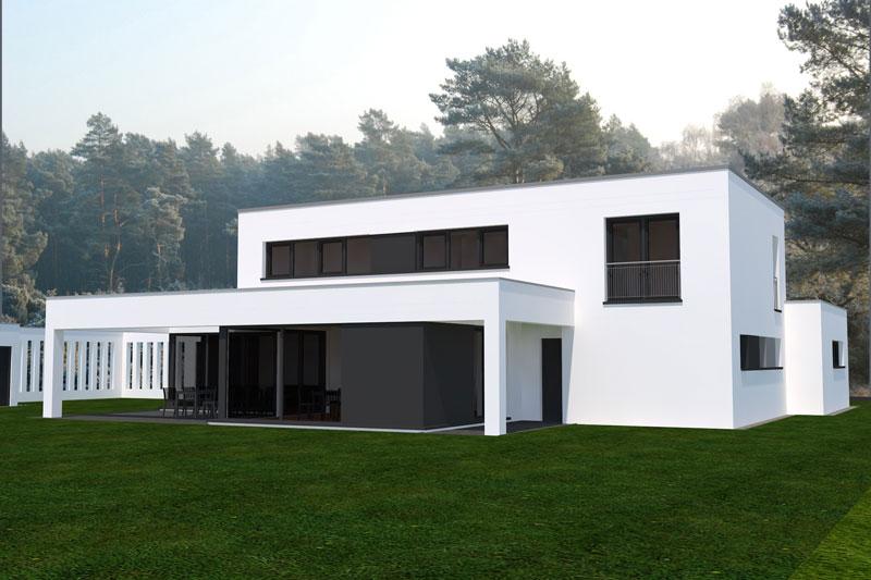 Einfamilienhaus bei erfurt deura for Flachdachhaus mit garage