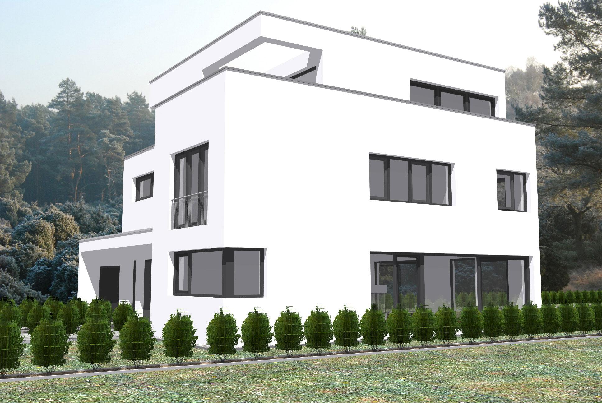 Haus mit flachdach winkelbau erfurt baugebiet wachsenburgweg ins haus integrierter carport offenes wohnen moderne architektur fünf
